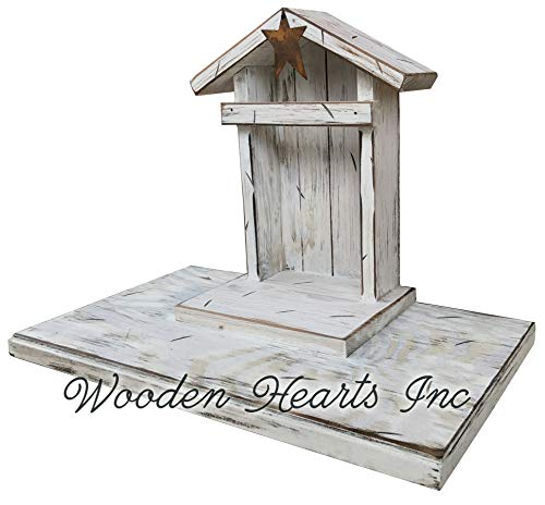 (STABLE for NATIVITY *Creche only (Willow Tree figures not included) Distressed REAL Wood Manger *Compatible with Demdaco Nativity Figures *Green Antique White *NO ASSEMBLY *Handmade in USA)