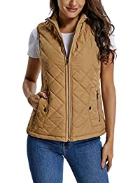 Women's Lightweight Zip up Stand Collar Warm Quilted Gilets Padded Puffer Vest Outerwear w 2 Pockets