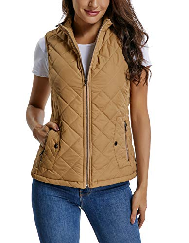 MISS MOLY Women s Lightweight Zip up Stand Collar Warm Quilted Gilets  Padded Puffer Vest Outerwear w 45e8c5d5a258