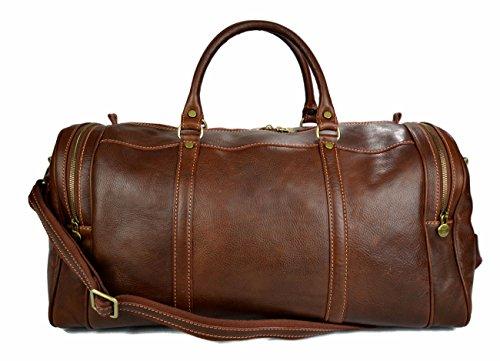 Mens leather duffle bag light brown shoulder bag travel bag luggage weekender carryon cabin bag gym leather bag women's leather duffel by ItalianHandbags