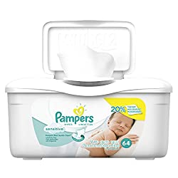 Pampers Sensitive Wipes Tub 64 Count (Pack of 8)
