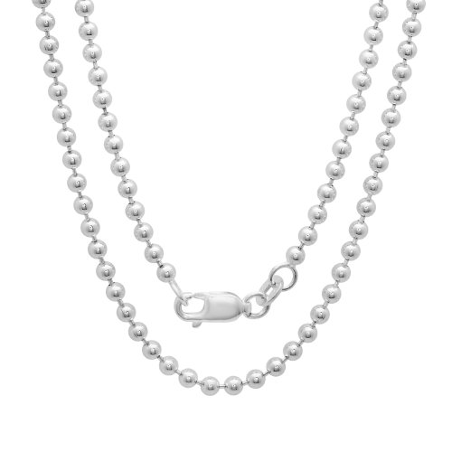 Ball Martinez (Sterling Silver 2.5 mm Pallini Bead Ball Chain, 24 Inch)