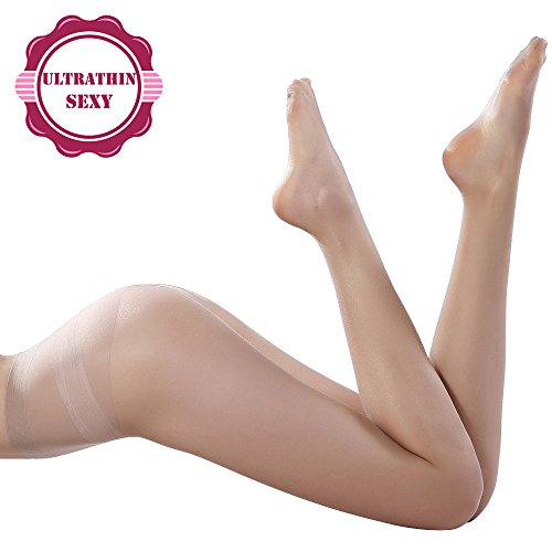 Best Women's Control Top 10 Den All Sheer Toe Silk Stockings Tights Panty Hose, Deep Nude Tights, Size L/XL