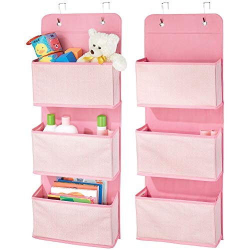 mDesign Soft Fabric Wall Mount/Over Door Hanging Storage Organizer - 3 Large Pockets for Child/Kids Room or Nursery, Hooks Included - Herringbone Print, 2 Pack - Pink