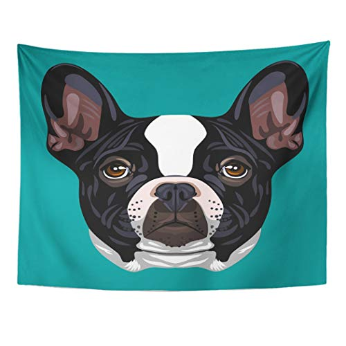 Emvency Tapestry Artwork Wall Hanging Hanging Boston Portrait of French Bulldog Terrier Animals Beauty Black Boxer Bull Canine 60x80 Inches Tapestries Mattress Tablecloth Curtain Home Decor Prin -