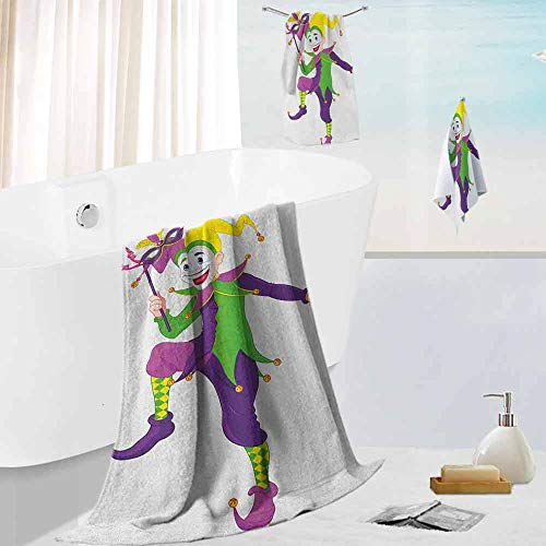 Dead Tinkerbell Costume (Leigh R. Avans Mardi Gras,3 Piece Kitchen Towel Set Cartoon Style Jester in Iconic Costume with Mask Happy Dancing Party Figure for The Bath, Pool, or Beach)