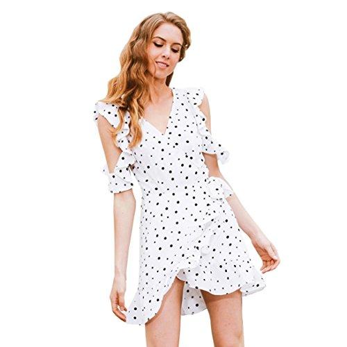vestidos de mujer,Switchali Mujer moda Gasa V profundo Impresión negra del punto Irregular casual mini Vestido verano blanco linda ropa de playa nuevo 2017 barato