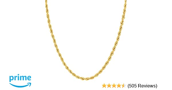 Amazon lifetime jewelry 2mm rope chain 24k gold with inlaid amazon lifetime jewelry 2mm rope chain 24k gold with inlaid bronze premium fashion jewelry wear alone or with pendant guaranteed for life mozeypictures Gallery