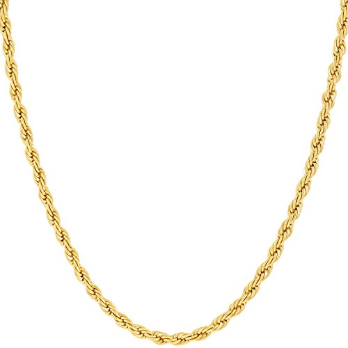 Lifetime Jewelry Gold Necklaces Women & Men [ 2mm Rope Chain] Up to 20X More 24k Plating Than Other Necklace Chain - Durable Gold Necklace Free Lifetime Replacement Guarantee 16-36