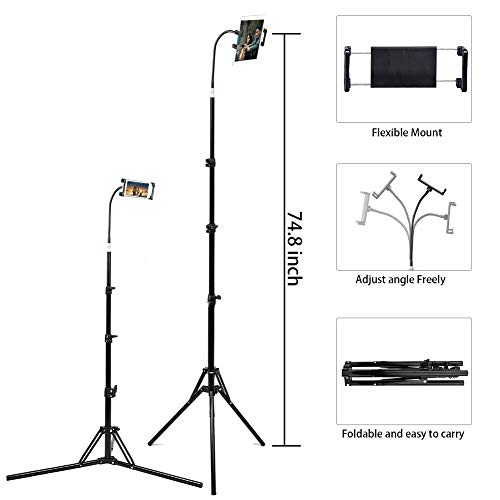 Floor Stand for Smartphone and Tablet, 360 Degree Adjustable Selfie Tripod Mount Holder for 4.7