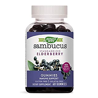 Nature's Way Sambucus Elderberry Gummies, Herbal Supplements with Vitamin C and Zinc, Gluten Free, Vegetarian, 60 Gummies (Packaging May Vary)