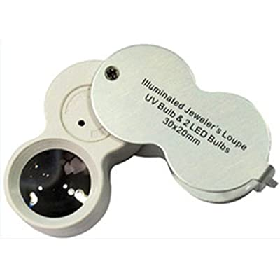 Jeweler's Loupe with LED and UV Light (Various Sizes and Magnification)