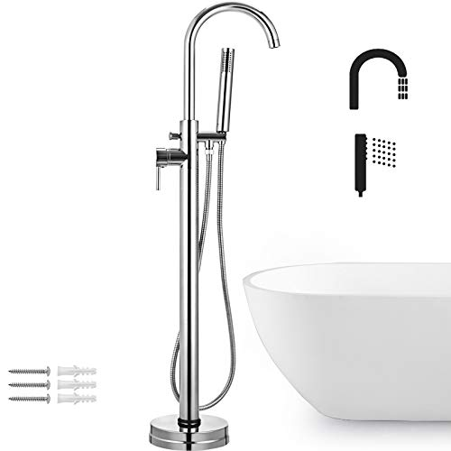 VEVOR Brass chrome plated Free Standing Bathtub Shower Mixer Taps Floor Mounted Tub Shower Faucets with Hand Sprayer Single Handle (Bath Shower Mixer Taps Chrome)