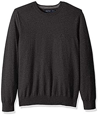 Nautica Men's Crew Neck Lightweight Sweater, Charcoal Heather Small