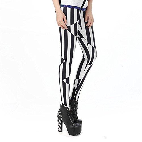 MAYUAN520 3D Arte Legins Viaggio con Le Strisce Bianche e Nere Stampate Leggins Donna Leggings Donne Pant,S
