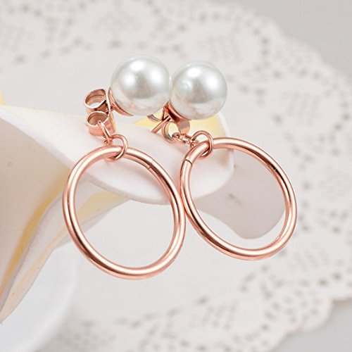 Promices Women Circle and Pearl Earrings titanium steel 18k rose gold plating - 18k Circle Earrings