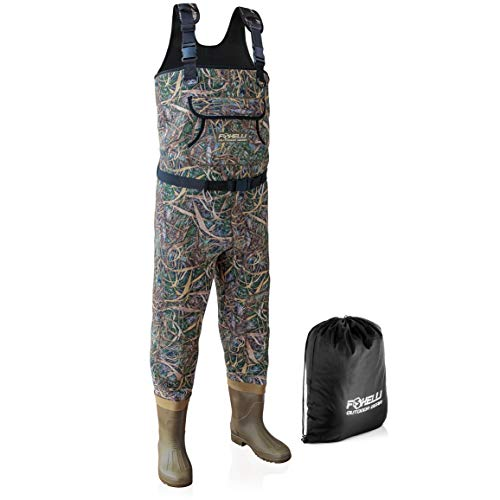 Foxelli Neoprene Fishing Waders – Camo Chest Waders for Men with Boots - Use for Duck Hunting, Fly Fishing, Emergency Flooding – 100% Waterproof, Carrying Bag Included
