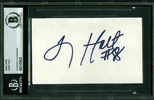 Rams Tory Holt Authentic Signed 3x5 Index Card Autographed BAS - Signed Index Card Autographed 3x5