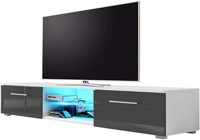 Edith - Mueble de TV (140 cm), Color Blanco Mate y Gris Brillante (LED Azul): Amazon.es: Hogar