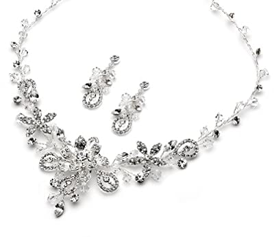 USABride Swarovski Jewelry Set Scroll & Floral Pattern Silver Plated Necklace & Earrings, Jewelry 1385