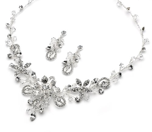 USABride Swarovski Jewelry Set Scroll & Floral Pattern Silver Plated Necklace & Earrings, Jewelry ()