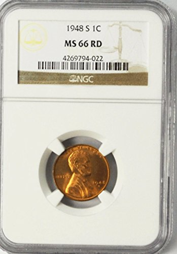 1948 S Lincoln Wheat Cent Brilliant Uncirculated San Francisco AZC12 Penny MS66 NGC RD