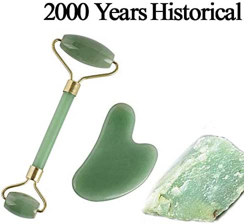 Genuine 100% Natural Handmade Jade Roller,Gua Sha Scraping ,Face Slimmer, Helps Lymphatic Eyes Neck Body Detox,for Women Aging Skin Wrinkles Puffiness Face Slimmer(Green)