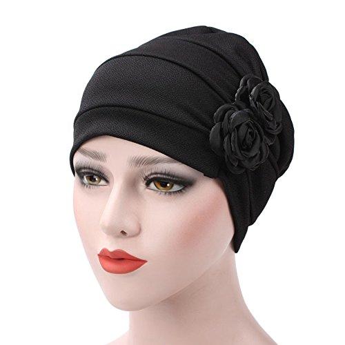 - Finance Plan Women's Rose Flowers Muslim Beanie Hat Snood Cancer Chemo Hair Loss Cap (Black)