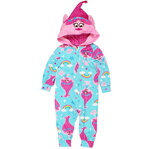 Trolls Princess Poppy Girls Hooded Fleece Pajamas 2T