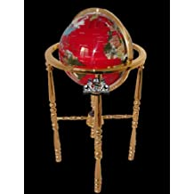 Unique Art 330-GBH-RED-GOLD 36-Inch by 13-Inch Floor Standing Red Lapis Ocean Gemstone World Globe with Gold 4-Leg Stand