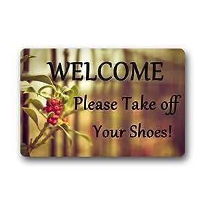 """Sweetshow Custom Welcome Please Take Off Your Shoes Indoor/Outdoor Doormat Door Mat Decor Rug Mats Non Slip Mats 23.6""""(L) x 15.7""""(W)"""