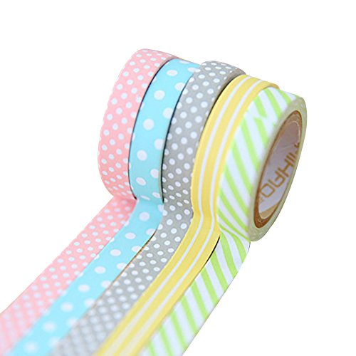 wsloftyGYd Dot DIY Washi Tape Adhesive Masking Tape for Home Decoration Scrapbooking Candy Color Polka Dot Laundry Tape and Paper Tape Sticker Hand Paper -