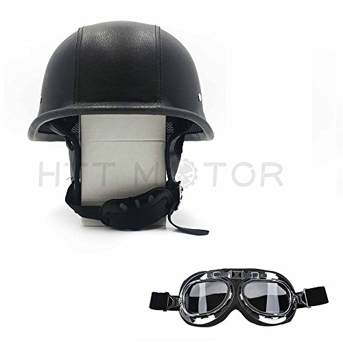 HTTMT MT506-002-L- DOT German Black Leather Motorcycle Half Face Helmet Biker Pilot Goggles Size ()