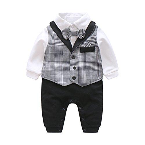 9b43bbb66 Jual Newborn Baby Boys Gentleman Romper Tuxedo Bow Tie Toddler ...