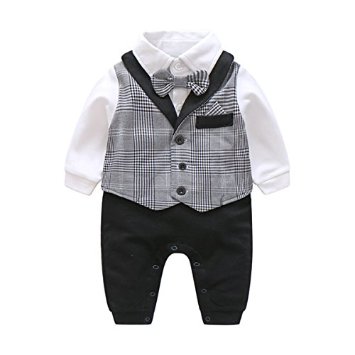 e88ccbc96ea7 Newborn Baby Boys Gentleman Romper with Tuxedo Bow Tie Toddler Infant Long  Sleeves Plaid Jumpsuit Outfit