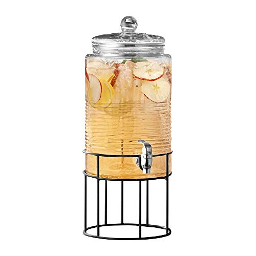 Style Setter Covina 210321-GB Beverage Dispenser with Stand Cold Drink w 1.9 Gallon Capacity Glass Jug and Leak-Proof Acrylic Spigot in Gift Box for Parties, Weddings, 9x16