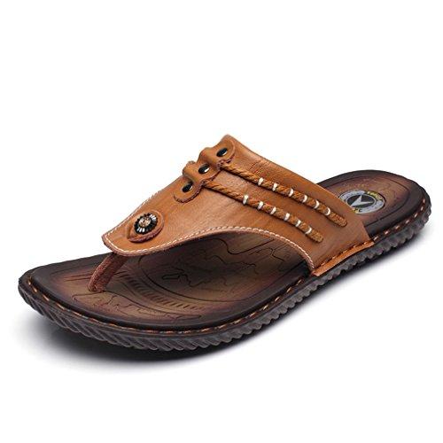 Leather U Thongs Exquisite MAC Casual Sandals Personalize Fashion Men's Flip Flops Brown Shoes Outdoor HxSwnHqP