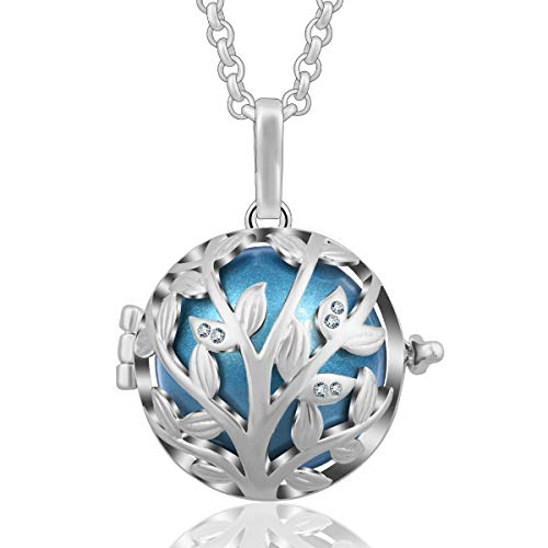 AEONSLOVE Tree of Life Olive Leaves CZ Harmony Bola Chime Bell Pendant Necklaces for Women, 30'' Long Chain (Dodger Blue) ()