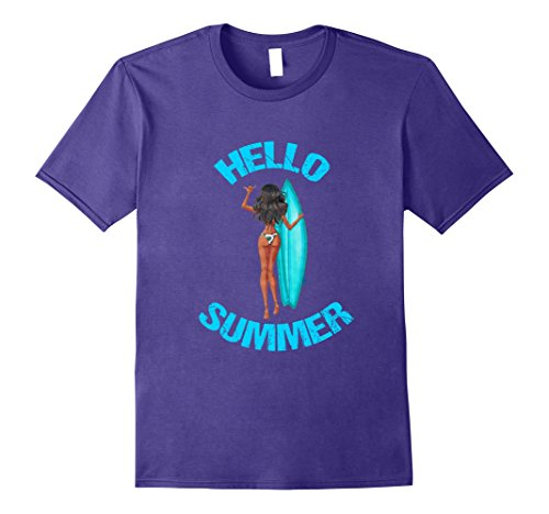 Mens Hello Summer Bikini Dark Skinned Girl Surfboard T-Shirt 2XL Purple