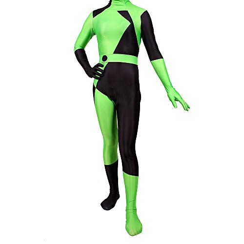 Kim Possible Costume Halloween Women's Shego Jumpsuit Cosplay Costume -