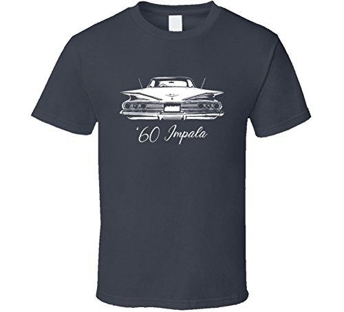 1960's Mens Shirt - CarGeekTees.com 1960 Impala Rear View with Model Year Dark Color T Shirt L Charcoal Grey