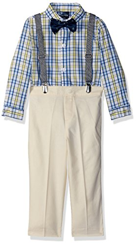 Nautica Baby Boys Set with Shirt, Pant, Suspenders, and Bow Tie, Oxford Yellow Plaid, 24M