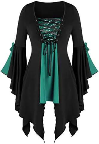 BBFairy Women's Halloween Gothic Witch T Shirt Tops Halloween Patchwork Sequined Insert T-Shirt Costume