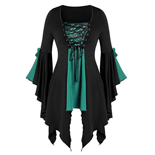 TOTOD Halloween Costume, Women Gothic Criss Cross Sequined Insert Trumpet Sleeve Irregular Hem Witch T-Shirt Tops Green