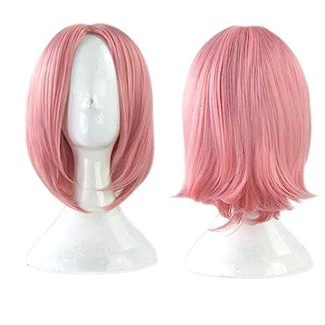Amazon.com: Peluca de cosplay rosa corta resistente al calor ...