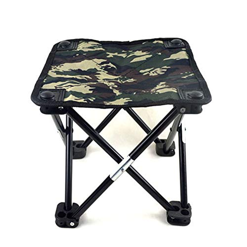 (Fitlyiee Portable Folding Stool with Storage Pocket Lightweight Camping Chair for Hiking Fishing Beach BBQ (Dark Green) )