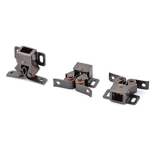 eDealMax Inicio Armario Armario metálico de Bolas de Doble rodillo de la puerta del retén de 3pcs tono de cobre