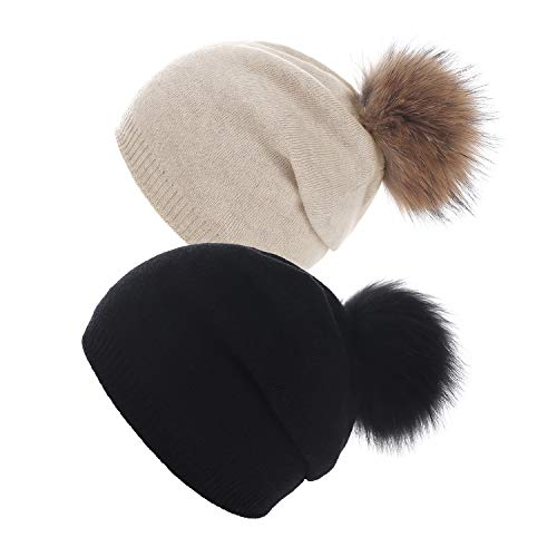Ski Hat Knit Beanie (Women Knit Wool Beanie - Winter Solid Cashmere Ski Hats Real Raccoon Fur Pom Pom (Black/Beige 2Pcs))