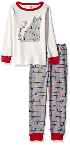 Gymboree Big Girls' 2-Piece Tight Fit Long Sleeve Long Bottoms Pajama Set, Cat Holiday Light, 3 from Gymboree