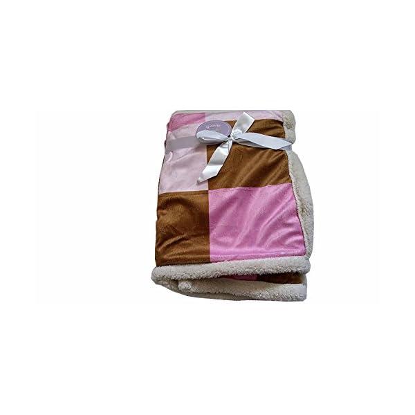 Kristen Hanah Double Sided 30″x40″ Baby Block Fleece Blanket (Pink-Brown)